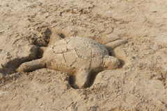 Sand Sculpture of a Turtle Stock Photography