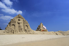 Sand sculpture of venus and cupid Stock Photos