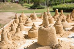 The sand sculpture was built on Songkran day.  Stock Images