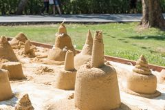 The sand sculpture was built on Songkran day.  Stock Photo