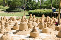 The sand sculpture was built on Songkran day.  Royalty Free Stock Photography