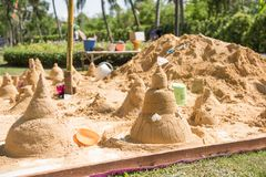 The sand sculpture was built on Songkran day.  Royalty Free Stock Image