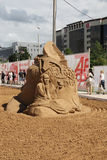Sand sculpture William Hazlitt at festival White Nights Royalty Free Stock Photo