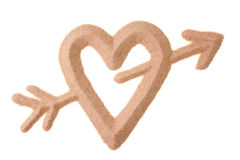 Sand sculptured sign of love. Love sign with heart and Cupid arrow sculptured in sand Royalty Free Stock Photography