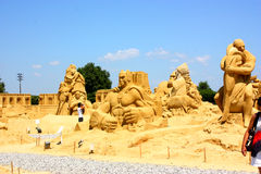 Sand sculptures. Of different popular movies build in country Bulgaria city of Burgas during Sand festival of movie and cinema Open on June 2 close on September stock photography