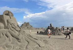 Sand Sculptures on Chijin Island Royalty Free Stock Photos