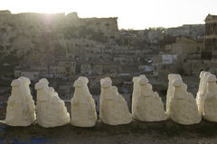 Sand sculptures dry out in the sun. Handmade sand sculture in the sun at Goreme, Turkey Royalty Free Stock Photo