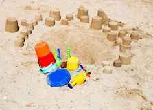 Sand Sculptures with Toys Stock Photography