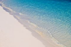 Sand and sea. Sandy shore with beautiful turquoise sea Stock Image