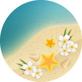 Sand and sea round banner Stock Image