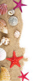 Sand and sea shells isolated Royalty Free Stock Photography