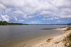 Sand, Sea, Sky on the Lynnhaven River. Lynnhaven River with sandy beaches Royalty Free Stock Images