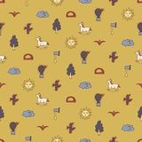 Sand seamless pattern with horses, cactuses, trees and axes vector illustration