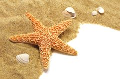 Sand and seastar border Stock Photos