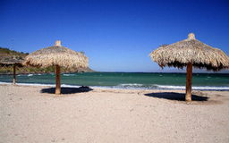 Sand and see resort. Beach near the town of Loreto in baja california sur, mexico Royalty Free Stock Image