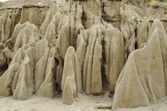 Sand in the shape of ghosts. Going through the Tatacoa desert, you can find a place where the river used to go before. When it dried up, the sand left these royalty free stock image