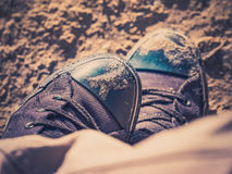 Sand on shoes Stock Photography