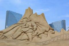 Sand-Skulptur, Affe-König Stockfoto