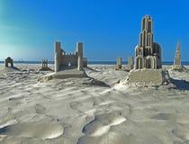 Sand-Skulpturen auf dem Strand Stockfoto