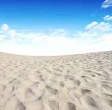 Sand and sky with clouds and sun background Royalty Free Stock Images