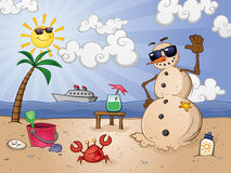 Sand Snow Man at the Beach. A snow man made of sand at a tropical beach resort, on shore form his vacation on an ocean cruise Royalty Free Stock Photography