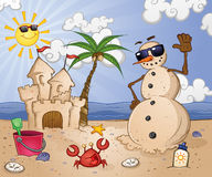 Sand Snow Man at the Beach Royalty Free Stock Photos