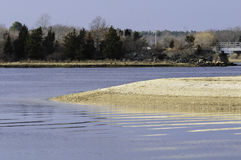 Sand spit Mattapoisett River Royalty Free Stock Photography