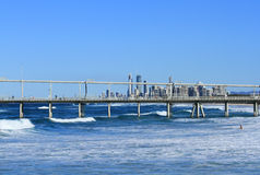Sand Spit in Southport, Australia. At the background - Surfers Paradise Royalty Free Stock Photos