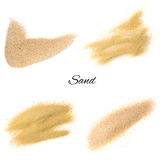 Sand splash or sand explode. Set of sand splash or sand explode isolated on white background. Sand texture top view stock photos