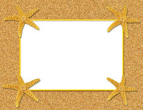 Sand and Starfish Frame Background. Sand and starfish with white copy space stock illustration