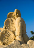 Sand statue of a man. Abstract sand statue of a man. The first ever Festival of sand sculptures in Bulgaria was held in the month of July 2008 in Burgas. It made royalty free stock photography