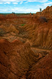Sand-Steinfelsformation der Dürre rote orange herein Lizenzfreie Stockbilder