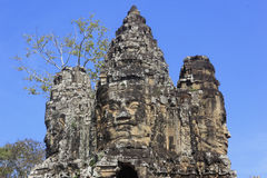 Sand-Steinhauptskulptur in altem Bayon-Tempel Lizenzfreie Stockfotografie