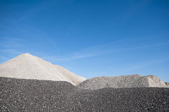 Sand and stone. Construction material includes crushed stones and sandstone Royalty Free Stock Photos