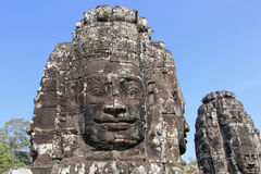 Sand Stone Head Sculpture in Ancient Bayon Temple Royalty Free Stock Photography