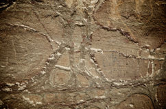 Sand stone hieroglyph. Patterns in sandstone that look like hieroglyphs Royalty Free Stock Images
