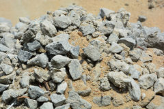 Sand and stone. Ready for a mix. Mix for work of laying cement blocks together. granite, sand. lagos nigeria Royalty Free Stock Photo