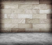 Sand stone wall and concrete  floor texture , Grunge design Royalty Free Stock Photos