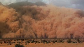 A sand storm with blue sky in the Namib desert, Naukluft Park, Namibia, Africa stock photo
