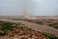 Sand storm coming to Ait Benhaddou Maroc. A sand storm coming to Ait Benhaddou Maroc location of gladiator movie Stock Photography