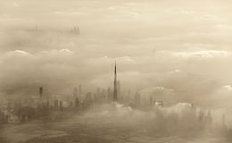 Sand storm in Dubai. Dramatic sand storm in Dubai, UAE, luxury resort, beautiful city covered with dust, windy weather in desert Royalty Free Stock Photos