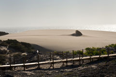 Sand storm at Guincho beach in Cascais, Portugal Stock Image