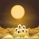Sand storm. Illustration with lost farm in the desert during night sandstorm drawn in cartoon style royalty free illustration