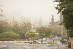 Sand storm in Israel. Sand storm in city Karmiel, Israel Royalty Free Stock Photo