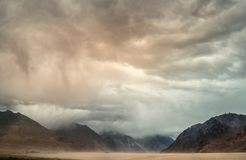Sand storm in Nubra Valley, Jammu and Kashmir, Leh, India royalty free stock photography