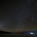 Sand-Strand über Nacht am Acadia-Nationalpark Stockbild