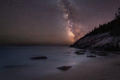 Sand-Strand im Acadia nachts Lizenzfreies Stockbild