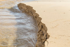 Sand structure while scouring by water Royalty Free Stock Photos