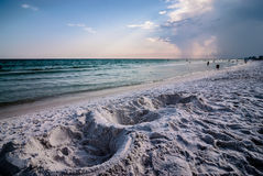 Sand structures on beach Stock Image