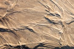 Sand surface with the relief formed by water currents Royalty Free Stock Photos
